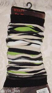 Black/Green/Beige Stripe Dance/Exercise Leg Warmers Boot Cuff Socks