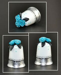 HAND PAINTED THIMBLE - BLUE ROSES