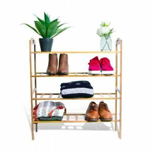 Bamboo 3 Tier Layers Shoe Rack Home Decor Organizer Storage Plant Stand Shelves