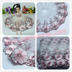 H165 Floral Tulle Lace Trim Ribbon Wedding Fabric Flower Embroidery Sewing DIY