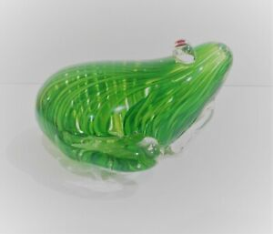 Art Glass Green Frog Paperweight Green Twisted Inclusions.