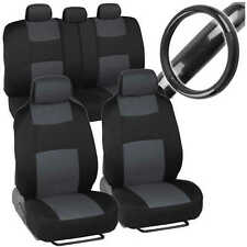 Sporty Full Charcoal Car Seat Covers W/ Black Carbon Fab Steering Wheel Cover