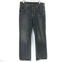 Banana Republic Mens size 34x32 Black Antique Wash Distressed Jeans Straight Leg