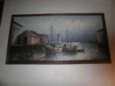 Large Signed Original Oil on Canvas Harbor Scene by W.Haywood