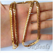 """18k Yellow Gold Filled Mens Necklace 24"""" Snake Curb Chain GF Fashion Jewelry HOT"""