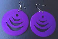Boho Hippy Gypsy 70s Style Large Purple Disc Patterned Fashion Earrings