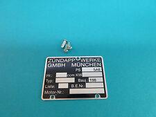 Zündapp Motor Blanko Typenschild 247-01.126 für Super Combinette Typ 423