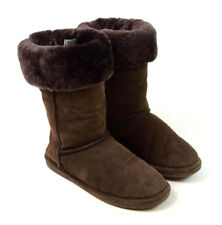 BEAR PAW Soft Luxe Brown Suede Leather Shearling Fur Lined Eskimo Boots Womens 9
