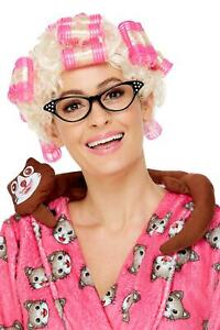 Adults Granny Wig with Rollers Blonde Cat Lady Hair Pensioner Halloween Fancy Dr