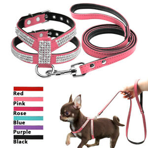 Bling Gems Small Dog Harness and Lead Soft Suede Leather Pink Blue Purple Black