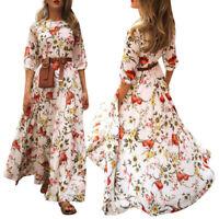 Women Boho Floral Swing Long Maxi Dress Ladies Summer Beach Holiday Party Dress