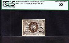 Us 10c Fractional Currency Fr 1249 2nd Issue Fiber Paper Pcgs 55 Ch Au