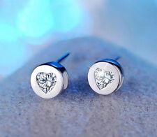 18k White GP Earrings Austria Crystal Women Bridal Jewellery Heart Stud Earrings