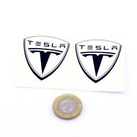 Tesla Badge Stickers Decal Vinyl 50mm x2 Car Panel Powerwall Laptop Black