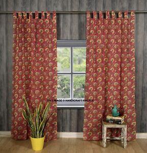 Indien Rose Floral Imprimé Porte Fenêtre Rideaux Coton Bohème Valance 2 PC Set