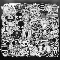 Mix Lot 100Pcs Black White Stickers Skateboard Graffiti Laptop Luggage Car Decal