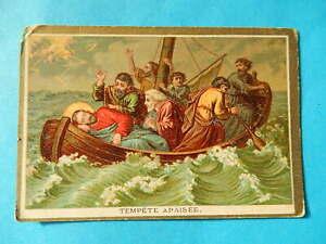 IMAGE PIEUSE HOLY CARD  JESUS MIRACLE TEMPETE APAISEE    BONNE PRESSE