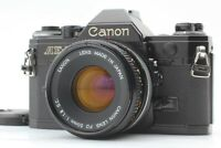 [ Exc+5 ] Canon AE-1 Black SLR 35mm Film Camera w/ FD 50mm f/1.8 Lens From Japan