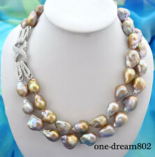 "2row 21"" 22mm baroque lavender reborn keshi pearl necklace"