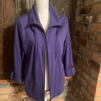 Amber Sun Women's Purple Athletic Full Zip Knit Sweater Jacket Size XL
