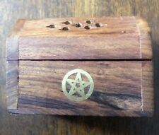 Natural Sheesham Wood Mini Carved Incense Cone Box With 30 Free Incense Cones