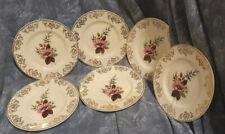 More details for gold gilt — floral — chintz  — dessert plates —6— modernist — mid century modern