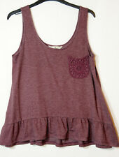 BURGUNDY DARK PURPLE LADIES CASUAL TOP BLOUSE VESYT STRETCH SIZE 12 TU