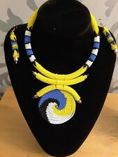 African Masai Tribal beads choker necklace with pendant set with earrings Afroxo