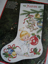 Dimensions Christmas Counted Stocking KIT,HOLLY ANGEL AND KITTEN,Morehead,8454