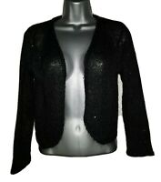 PHASE EIGHT Women's Long Sleeve Black Sequined Shrug Cardigan.Size UK 10. NEW.