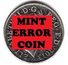 Moneda 10P 2013 Raro Escudo * error mula * Diez Peniques cara efecto fantasma (a)