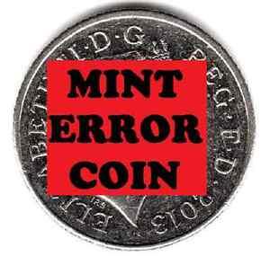 2013 10P COIN RARE SHIELD * ERROR MULE * TEN PENCE Face Ghosting (a)