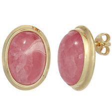 Ohrstecker oval 585 Gold Gelbgold 2 Rhodochrosite rosa Ohrringe 42428