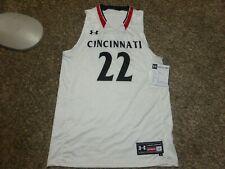 Nwt Under Armour #22 Cincinnati Bearcats Ncaa Basketball Jersey White Men's L