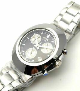 Rado Diastar Chronograph Black Dial White Fingers Date Men's Wrist Watch