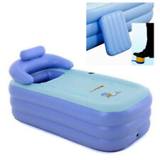Blow Up Adult Spa PVC Folding Portable Bathtub Warm Inflatable Bath Tub blue AU
