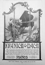 1907 AD(J4)~KRANICH & BACH WORLD FAMOUS PIANO'S, NYC.
