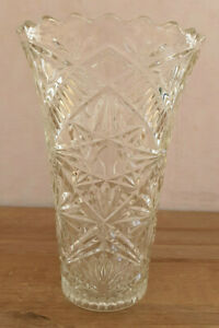 Antique Pretty Vase Glass Or Crystal Carved Stars