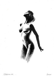 original drawing A3 248OJ art samovar female nude oil dry brush figure