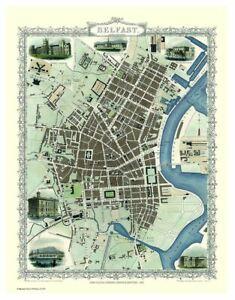 History Portal Belfast 1851 Map John Tallis 1000 Piece Jigsaw 690mm x 480mm (jg)