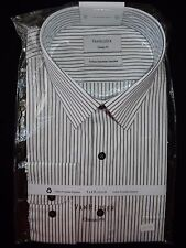 """VANHEUSEN"" BNWT - Size 46 - Business Long Sleeve Shirt - White w Black Strips"