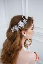 Bridal Hair Piece Flower Hair Vine White Flower Earrings Floral Jewelry Bride