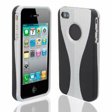 Silver / Black Cup-shape Snap-on Rubber Coated Case for Apple iPhone 4/4S