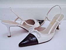 CHANEL black and white leather logo detail pointed toe heels shoes size 37