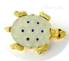 Vintage Antique Art Deco Czech Glass Enamel Brooch Pin Gold Tone Turtle Animal