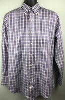 Peter Millar Purple Plaid Sport Shirt Size M Cotton Long Sleeve Top Blue Brown