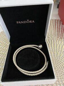Sterling Silber Pandora Weiß Leder Armband 38cm