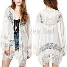 Womens Boho Lace Floral Chiffon Long Cardigan Coat Hollow Loose Kimono Shirt Top