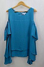Boutique Women's Cold Shoulder Sharkbite turquoise/Blue Plus Size Top Size 2X