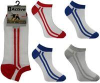 New Men's Active Double Stripe Design White Cotton Rich Trainer Liner Socks 3pp